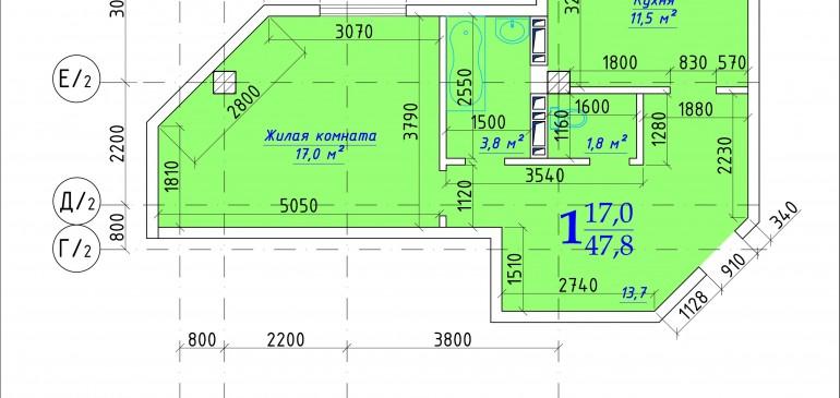 Однокомнатная квартира 47,8 кв.м в Дубоссарах