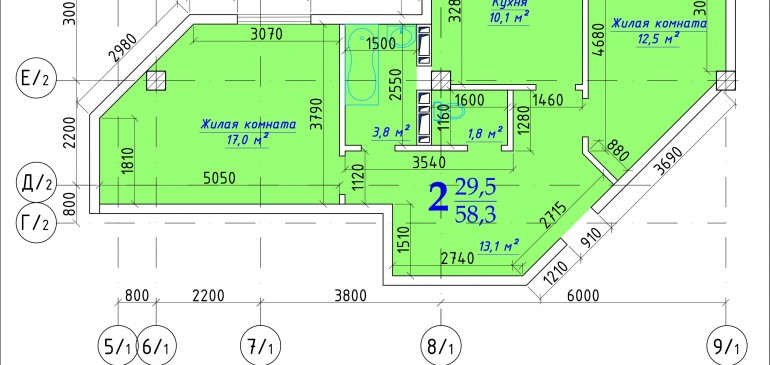 Двухкомнатная квартира 58,3 кв.м г. Дубоссары