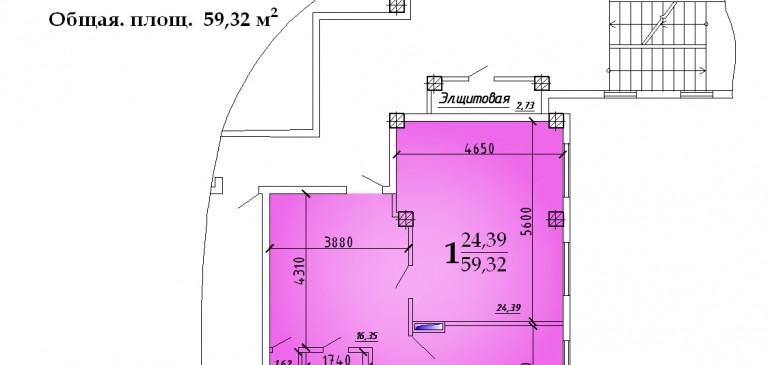 Однокомнатная квартира 59,32 кв.м г.Дубоссары