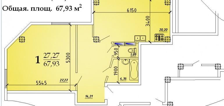 Однокомнатная квартира 67,93 кв.м г.Дубоссары