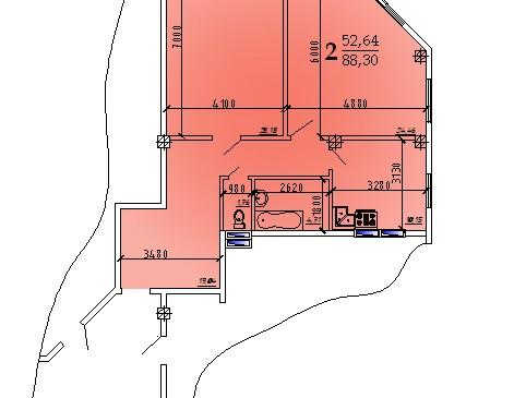 Двухкомнатная квартира 88,3 кв.м г.Дубоссары
