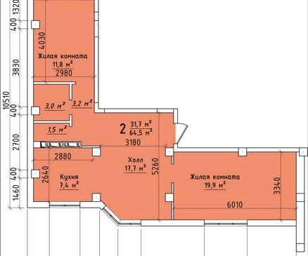 Двухкомнатная квартира 64,50 кв.м г.Тирасполь
