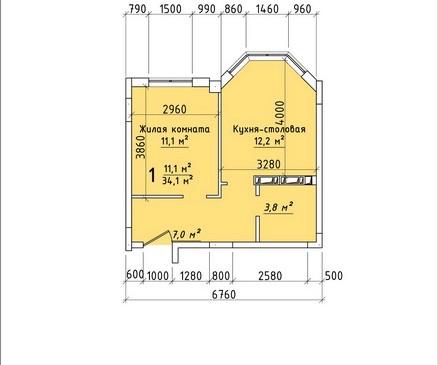 Однокомнатная квартира 34,1 кв.м г.Тирасполь