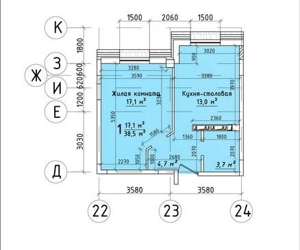 Однокомнатная квартира 38,5 кв.м г.Тирасполь