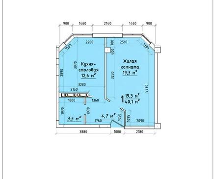 Однокомнатная квартира 40,1 кв.м г.Тирасполь