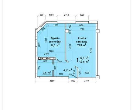 Однокомнатная квартира 40,6 кв.м г.Тирасполь