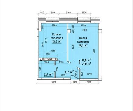 Однокомнатная квартира 41 кв.м г.Тирасполь