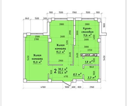 Двухкомнатная квартира 54,5 кв.м г.Тирасполь