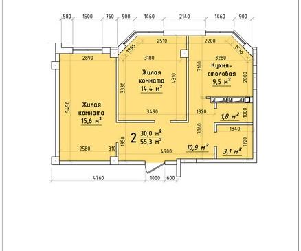Двухкомнатная квартира 55,3 кв.м г.Тирасполь