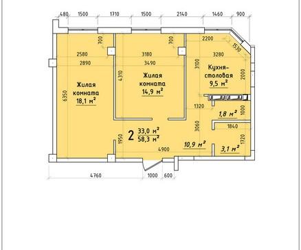 Двухкомнатная квартира 58,3 кв.м г.Тирасполь