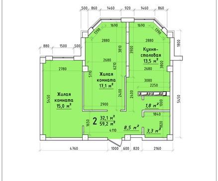 Двухкомнатная квартира 59,2 кв.м г.Тирасполь