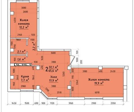 Двухкомнатная квартира 65,6 кв.м г.Тирасполь