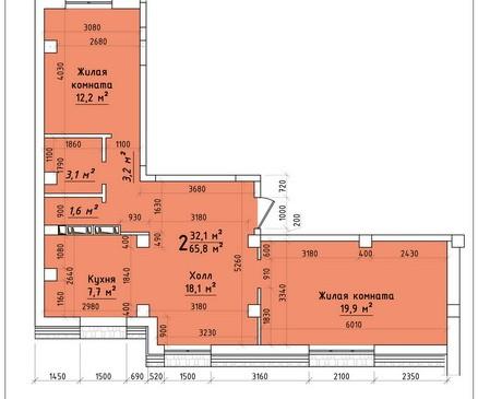 Двухкомнатная квартира 65,8 кв.м г.Тирасполь