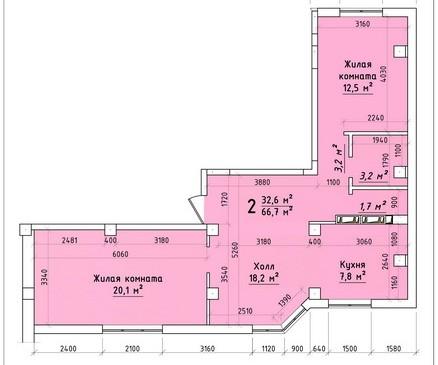 Двухкомнатная квартира 66,7 кв.м г.Тирасполь