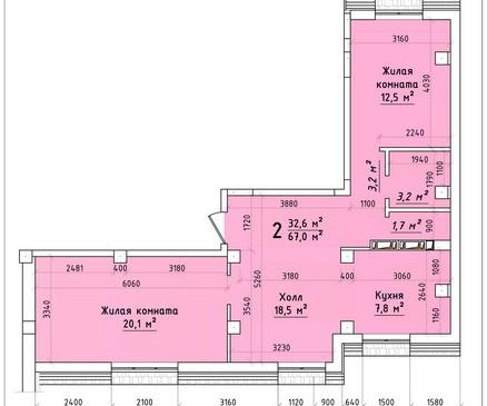 Двухкомнатная квартира 67 кв.м г.Тирасполь