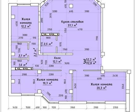 Трехкомнатная квартира 112,8 кв.м г.Тирасполь