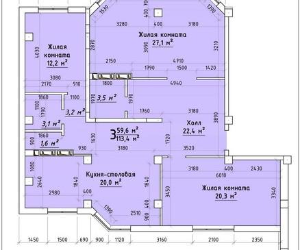 Трехкомнатная квартира 113,4 кв.м г.Тирасполь