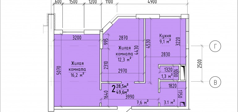 Двухкомнатная квартира 49,6 кв.м. г. Тирасполь
