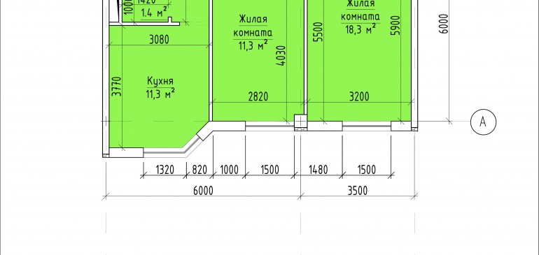 Двухкомнатная квартира 53,8 кв.м. г. Тирасполь