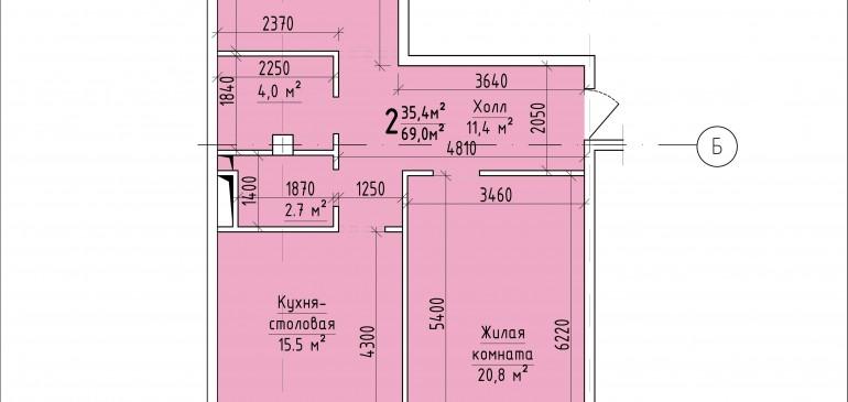 Двухкомнатная квартира 69,0 кв.м. г. Тирасполь