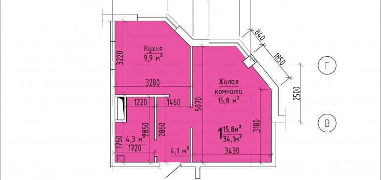 Однокомнатная квартира 34,1 кв.м. г. Тирасполь