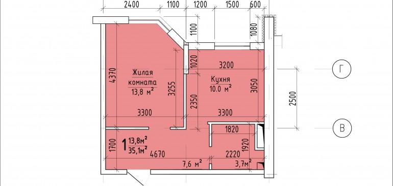 Однокомнатная квартира 35,1 кв.м. г. Тирасполь